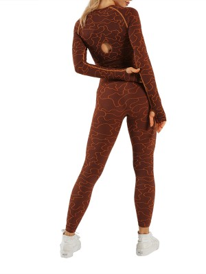 Brown Athletic Set Long Sleeve High Waist Athletic Comfort