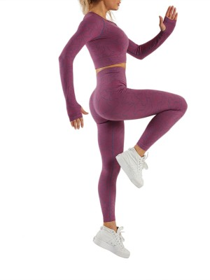 Purple Irregular Paint Cut Out Seamless Yoga Set Kinetic Weekend