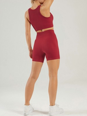 Wine Red High Waist Seamless Yoga Outfit Low-Cut Neck Online Wholesale