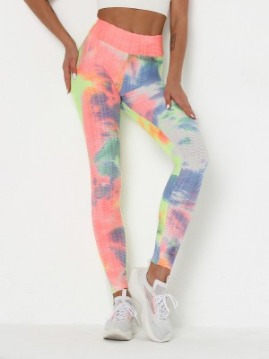 Body Hugging Wide Waistband Yoga Pants Tie-Dyed For Runner