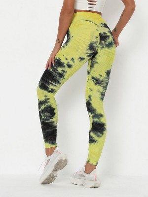 Appealing Yellow Yoga Legging Tie Dyed Tummy Control Leisure