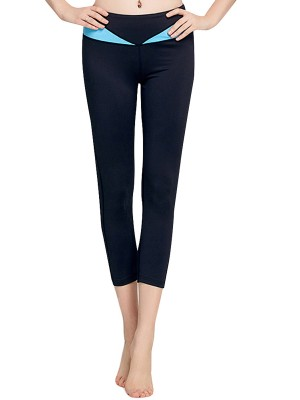 National Blue Capri Length Yoga Leggings Patchwork Weekend Time