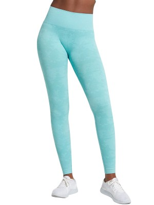 Royal Light Blue Camo Paint Wide Waistband Yoga Leggings For Runner
