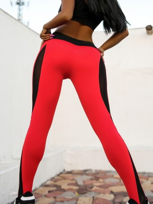 Sensual Curves Red Yoga Legging High Rise Mesh Patchwork Athletic