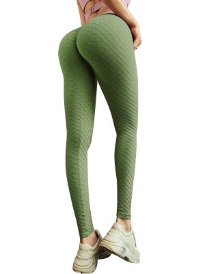 Gorgeous Green Seamless Butt Enhancing Sports Legging Casual Look