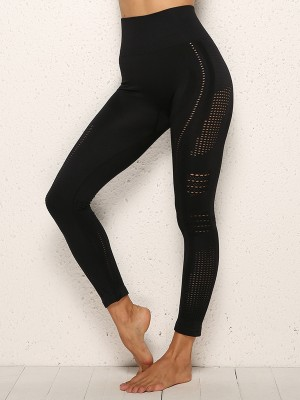 Ingenious Black Yoga Pants Full Length Seamless Mesh Simplicity