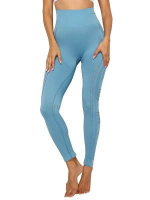 Sporty Blue High Waist Ankle Length Mesh Leggings Kinetic Fashion