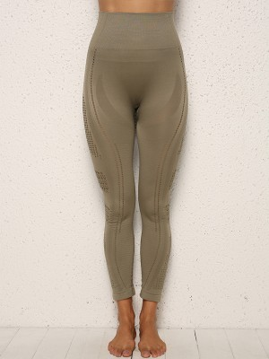 Sleek Green Patchwork Mesh Sports Leggings Seamless Form Fitting