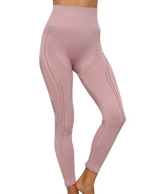 Flirting Light Pink Mesh Patchwork High Rise Yoga Pants Stunning Style
