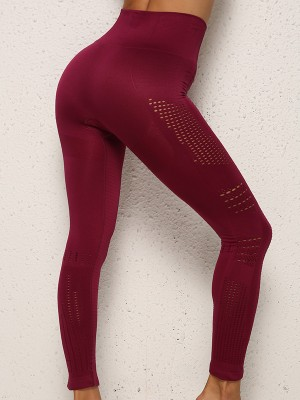 Unique Wine Red Mesh Wide Waistband Running Leggings For Fitness