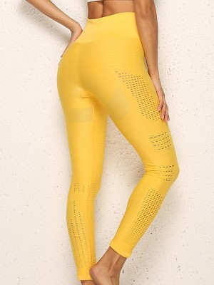 Creative Yellow Ankle Length Seamless Yoga Leggings Ladies Sportswear