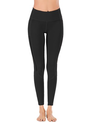 Invigorative Black Solid Color High Rise Sports Legging For Exercising