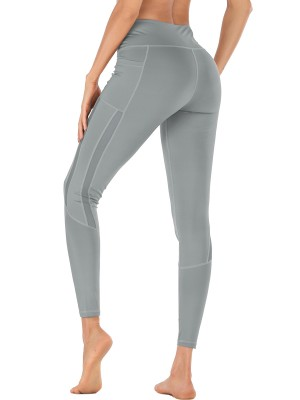 Picturesque Light Gray High Waist Athletic Legging With Pocket