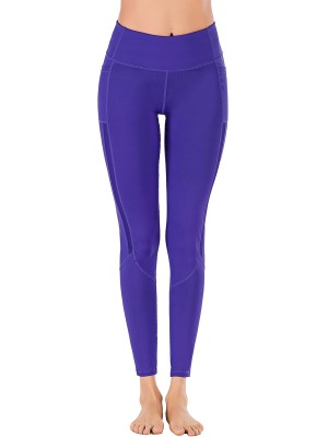 Workout Deep Purple Ankle Length Mesh Plain Yoga Legging Young Style