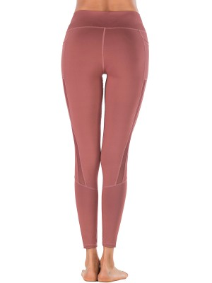 Explicitly Chosen Red Pockets Yoga Leggings Mesh Patchwork Young Style