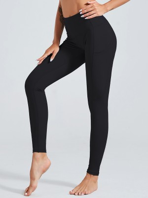 Fantasy Black Yoga Pants Ankle Length High Waist Slim Silhouette