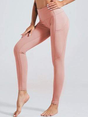 Online Pink Side Pockets Yoga Leggings High Waist High Quality
