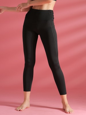 Functional Black High Waist Yoga Leggings Solid Color Outdoor Activity