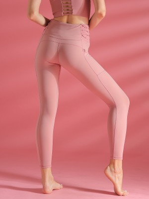 Light Pink Sports Legging With Pockets High Rise Moisture Management