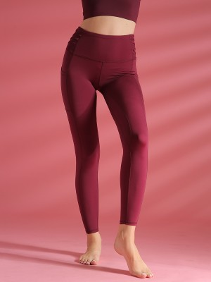 Must-Have Wine Red Solid Color Pockets Athletic Legging For Romans