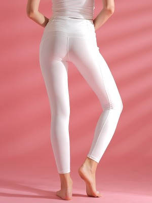 Slimming Fit White Yoga Leggings High Waist With Pockets Feminine Fashion
