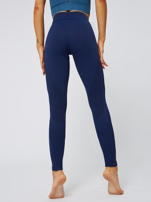 Individualized Navy Blue Seamless Yoga Leggings Solid Color Sports Series
