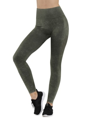 Smoothing Army Green High Waist Seamless Sports Legging For Running