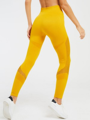 Tight Yellow Sports Legging Ankle Length Seamless Athletic Outfit