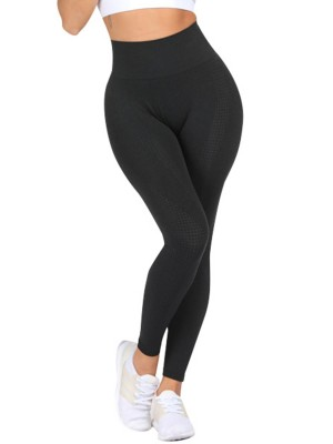 Trendy Black High Rise Yoga Leggings Ankle Length Stretch
