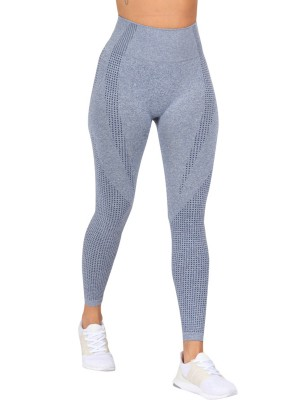 Quick Drying Blue High Waist Yoga Leggings Full Length Latest Fashion