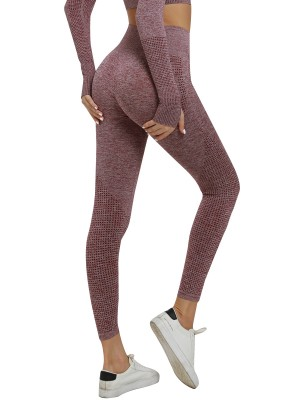 Tight Wine Red Running Leggings Seamless High Waist For Strolling