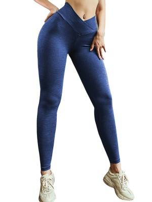 Scintillating Blue Full Length High Rise Sports Leggings Leisure Fashion