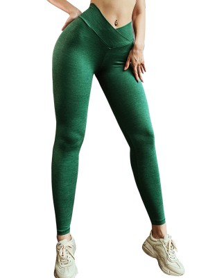 Ultra Skinny Green Cross Waist Yoga Leggings Solid Color For Streetshots