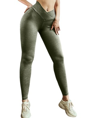 Casual Army Green Running Leggins Solid Color Cross Waist Natural Outfit