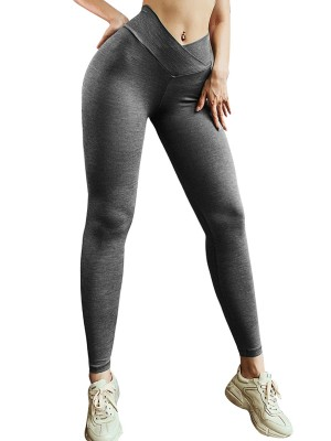 Shaping Gray Athletic Leggings Ankle Length Butt Lifting Garment