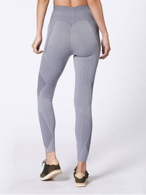 Tight Gray Training Legging High Waist Patchwork For Girls
