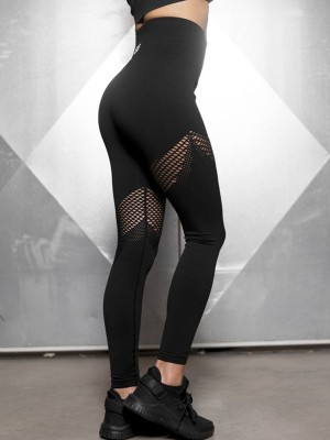 Flirty Black Sports Leggings Wide Waistband Seamless Outdoor