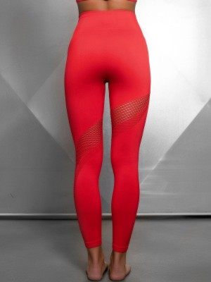 Popularity Red Solid Color Yoga Pants Seamless Mesh Female