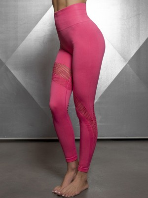 Lightweight Rose Red High Rise Yoga Legging Mesh Patchwork