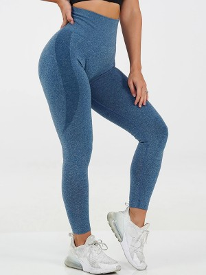 Interesting Deep Blue Abdominal Control Yoga Pants Patchwork