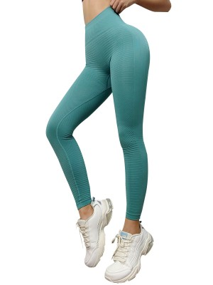 Fabulous Green Wide Waistband Full Length Yoga Leggings Slim Legs