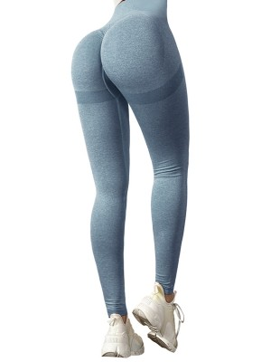 Exercise Royal Blue Seamless Running Leggings High Rise For Female Runner