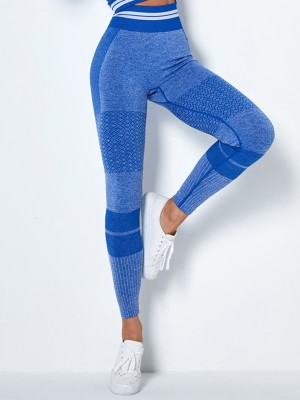Running Blue Wide Waistband Full Length Sports Leggings Moisture Wicking