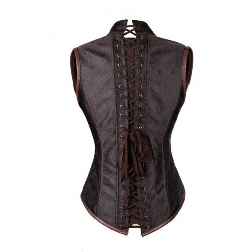 Brown Shaper Gothic Retro Brocade 10 Steel Bones Steampunk Corsets