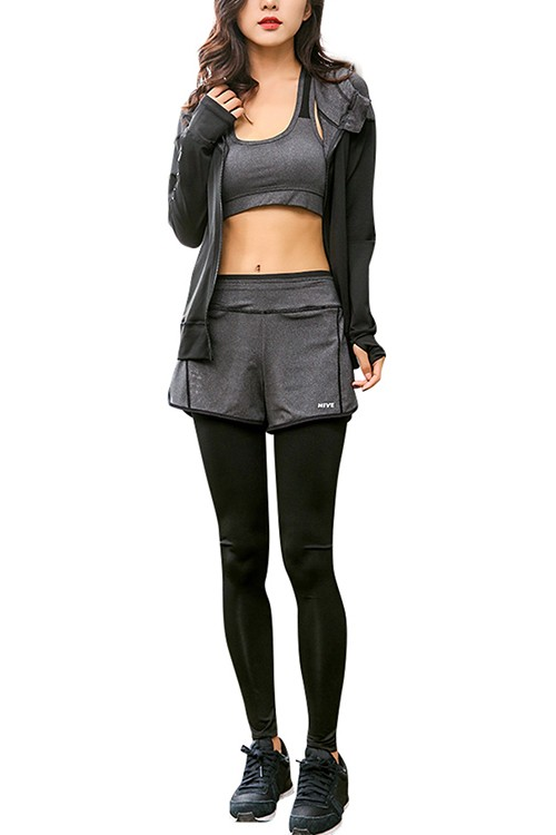 Comfortable Black Three Pieces Sweatsuit With Long Sleeves Jacket