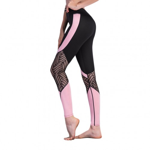 Lightweight Black Lace Stitching Sports Pants Color Block Patchwork