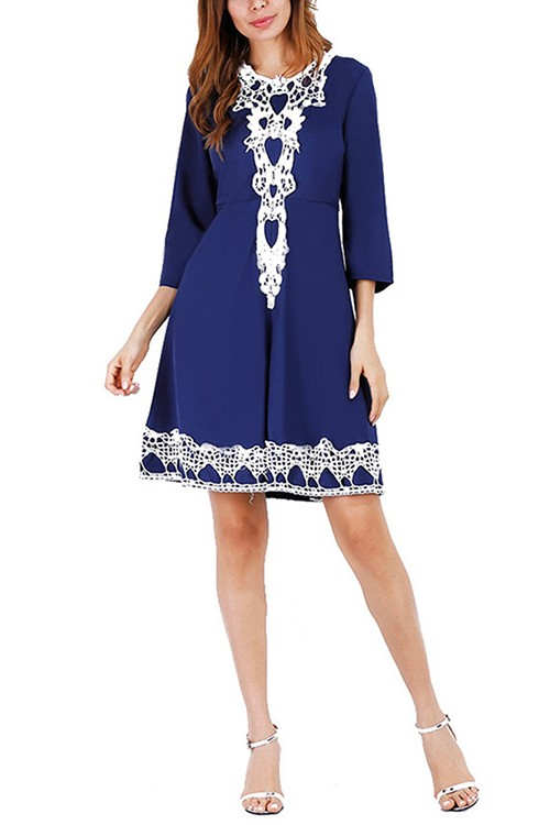 Graceful Blue Elbow Sleeves Flowy Dress Round Collar Lace Trim