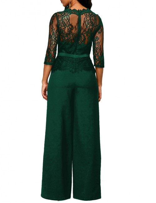 Tempting Solid Green Round Neckline Long Wide Pants Romper