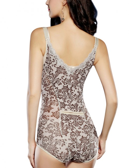 Nude Adjustable Straps Floral Lace Bodysuit Open Bust Postpartum Recovery