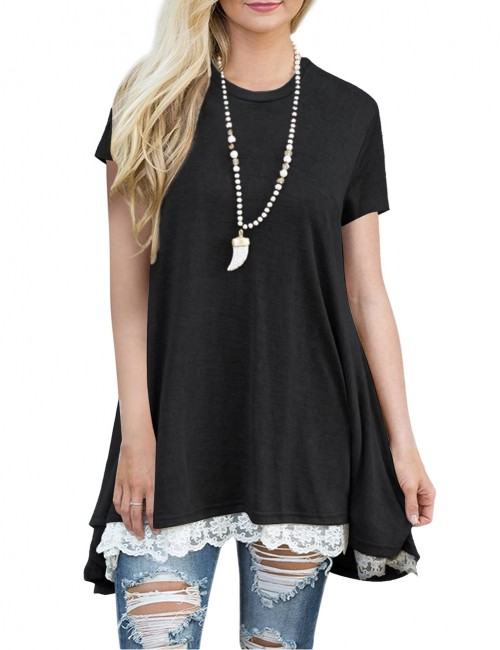 Leisure Black Short Sleeves T-Shirt Splicing Lace Hem